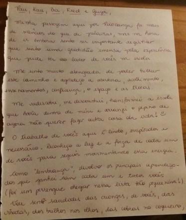 Carta de despedida para educadores da Escola Inkiri - pg 1